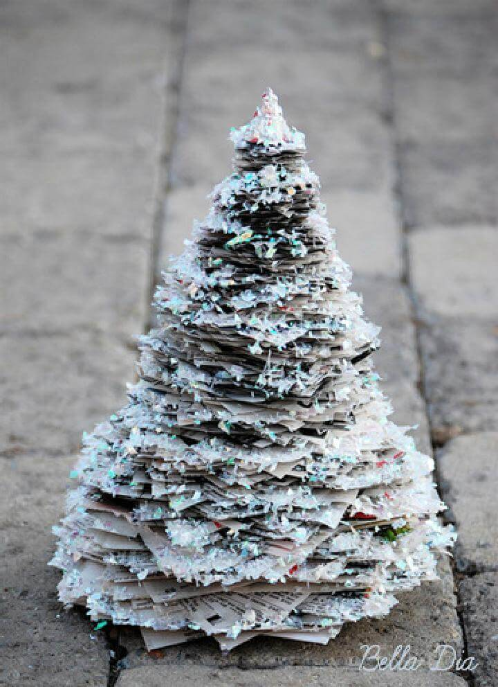 DIY Handcrafted Glittery Newspaper Tree