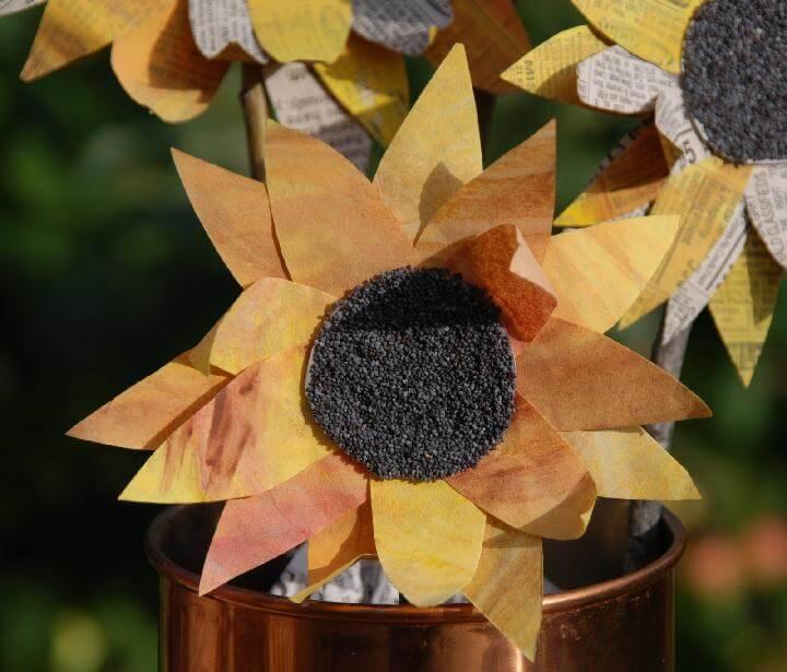 DIY Handcrafted Newspaper Sunflower