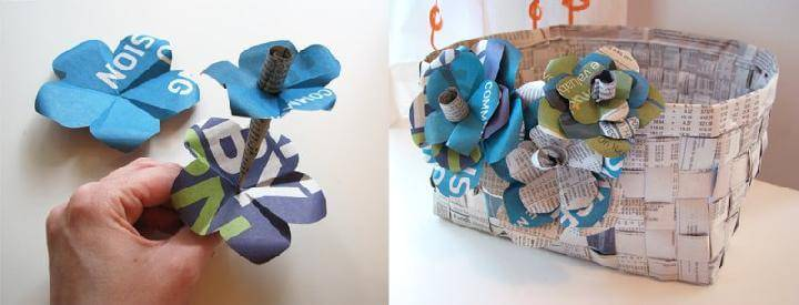 DIY Handmade Newspaper Flowers