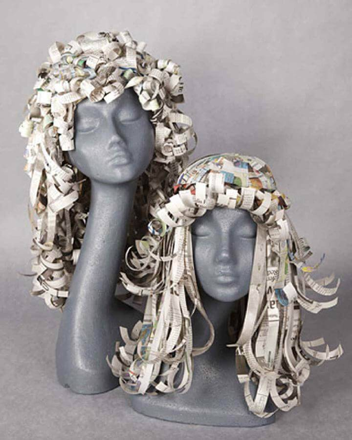 DIY Handmade Newspaper Wigs