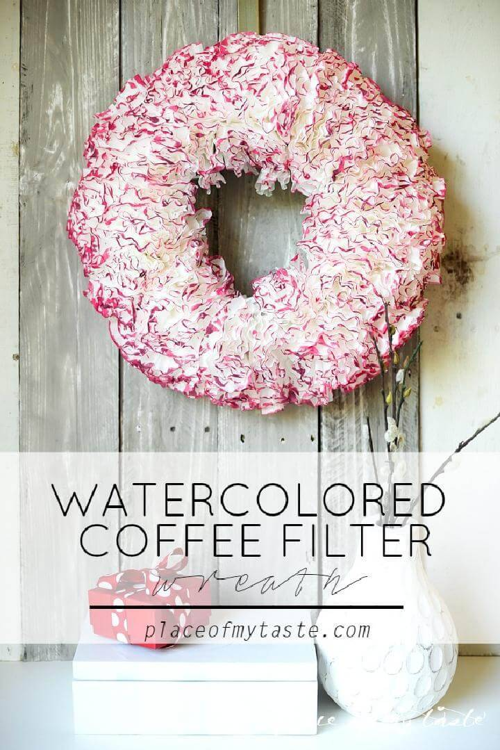 DIY Handmade Watercolored Coffee Filter Wreath