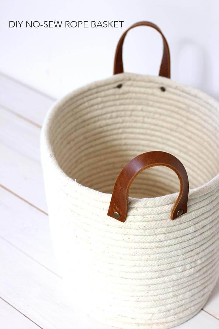 DIY Homemade No-Sew Rope Basket