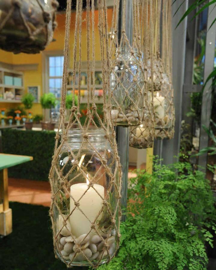 DIY Knotted Rope Hanging Lanterns