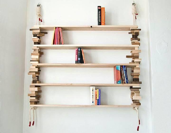 DIY Leftover Wood Block and Rope Bookshelf