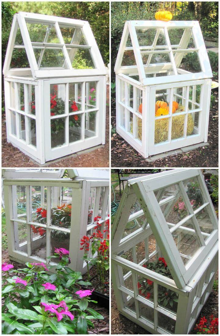 DIY Little Repurposed Windows Greenhouse