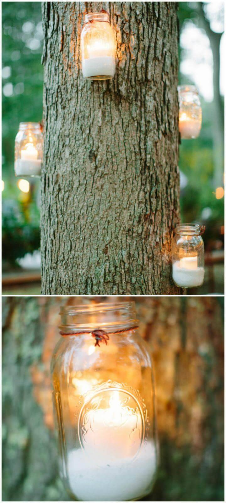 DIY Mason Jar Tree Hanging Lights for Graduation Party