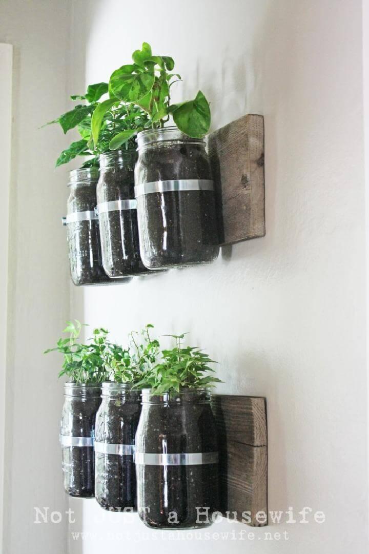 DIY Mason Jar Wall Hanging Planters