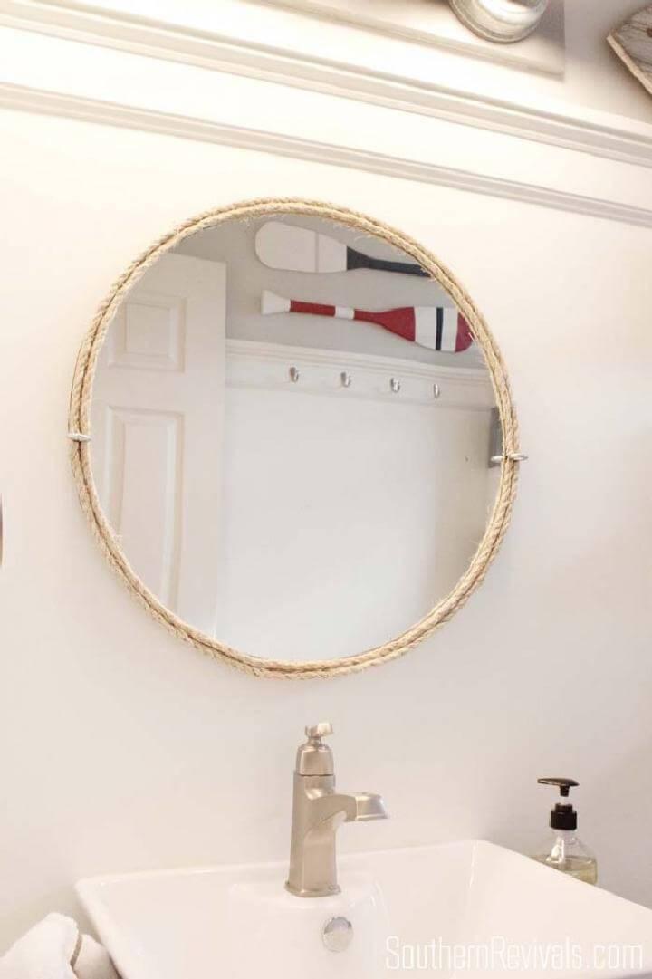 DIY Modern Bathroom Rope Mirror