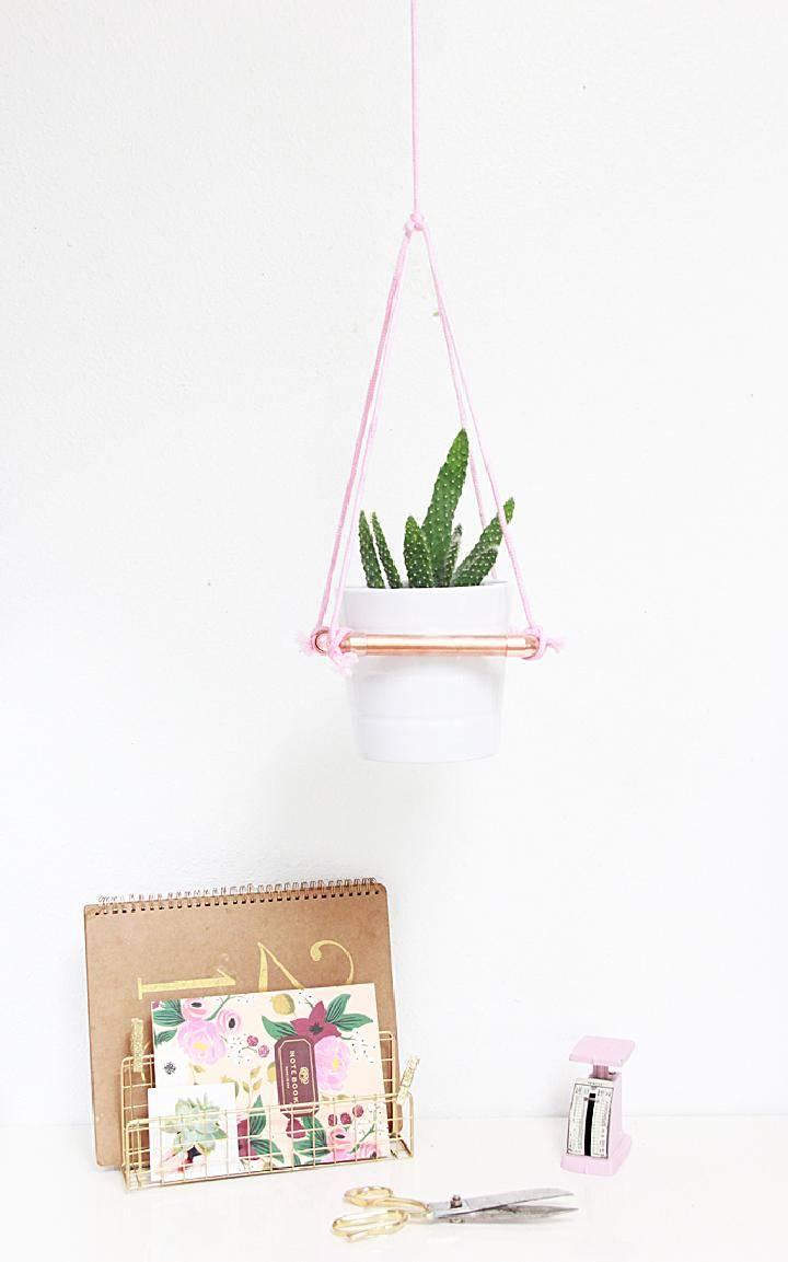 DIY Modern Hanging Rope Copper Planter