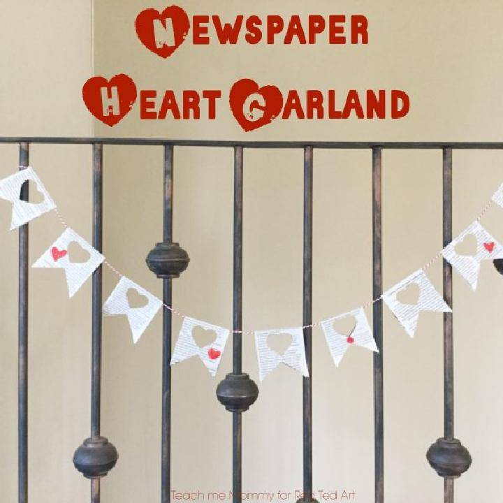 DIY Newspaper Heart Garland