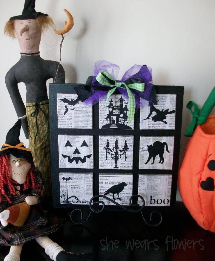 DIY Newspaper Lots of Halloween Silhouette