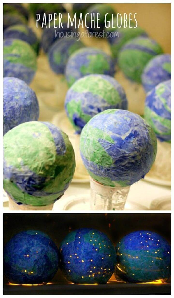 DIY Newspaper Mache Light Up Globes