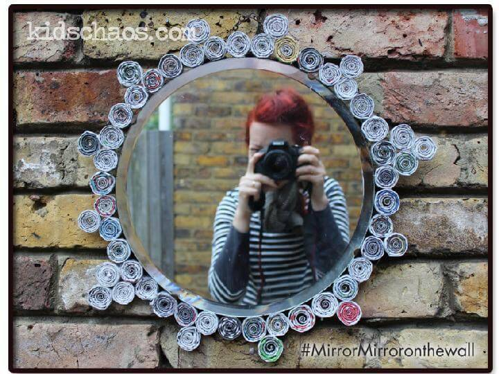 DIY Newspaper Spirals Snow White Mirror
