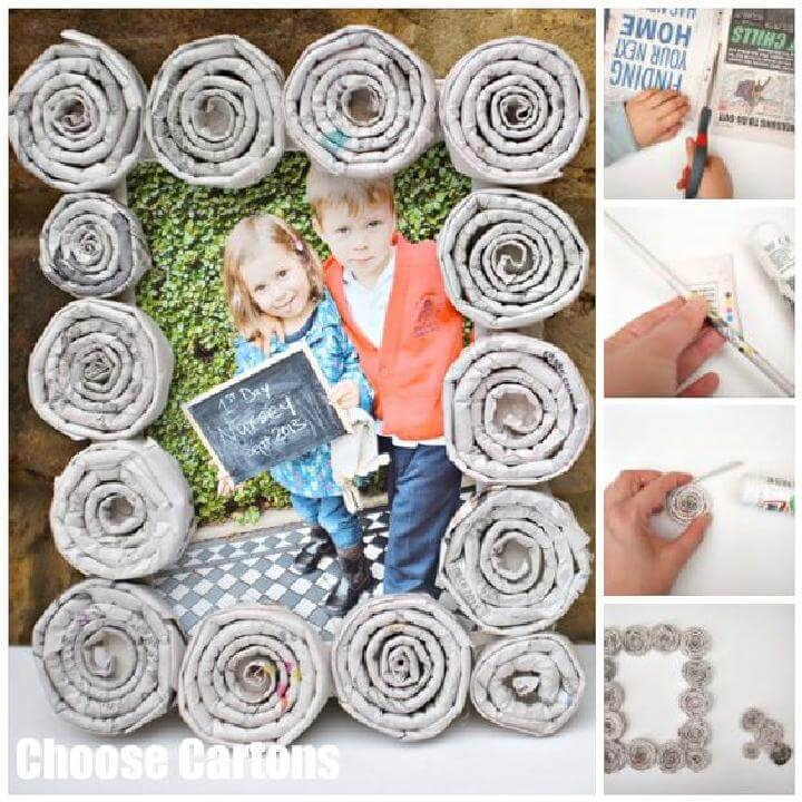 DIY Newspaper Swirls Photo Frames