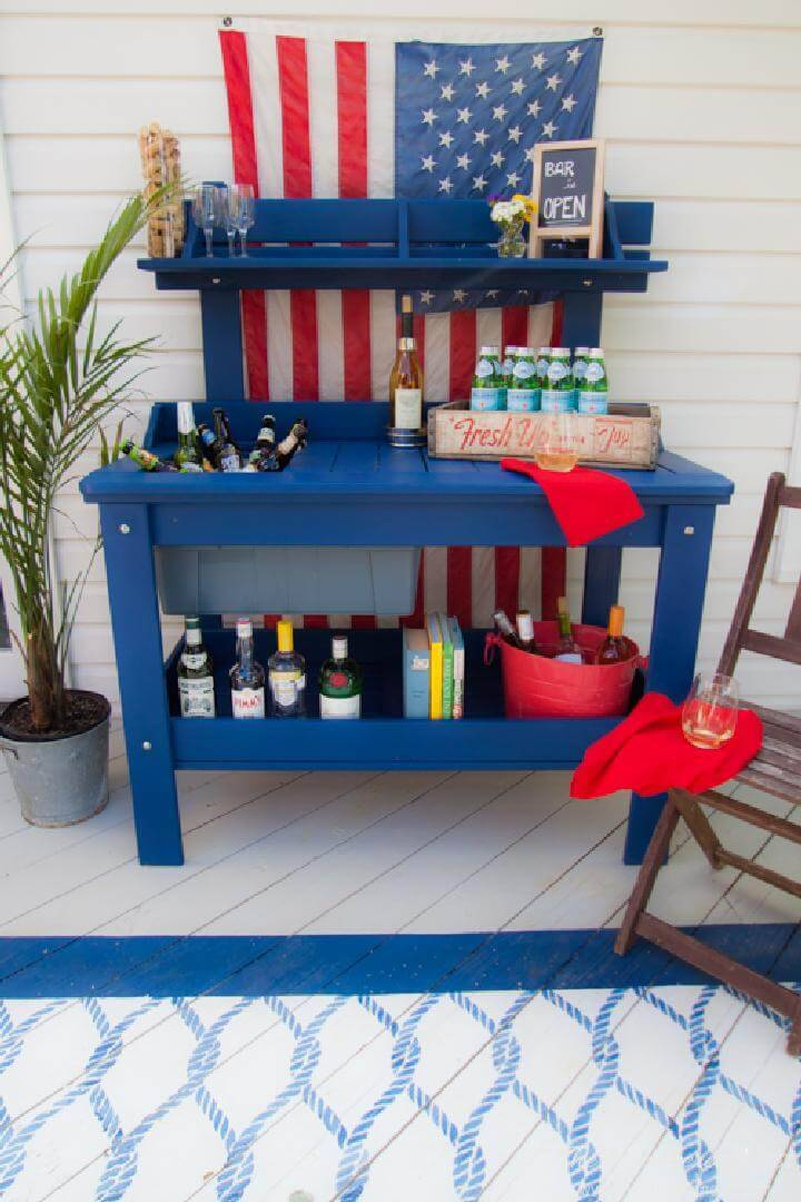 DIY Outdoor Potting Bench into Bar
