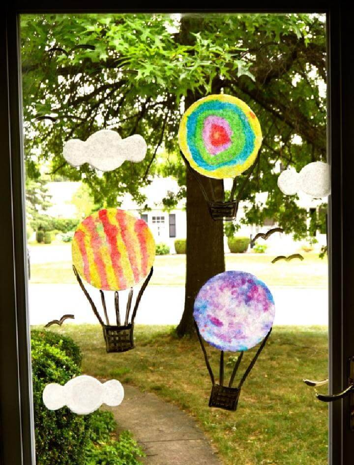 DIY Painted Coffee Filters Window Air Balloon Display