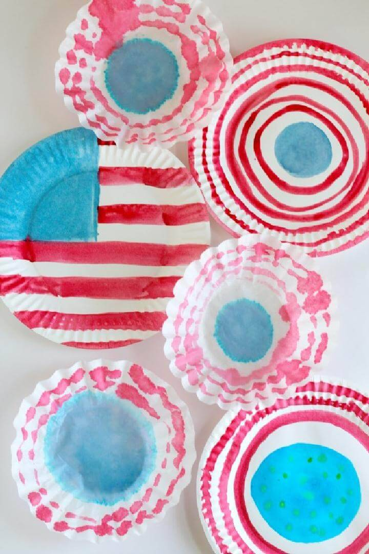 DIY Paper Plate and Coffee Filter Watercolor Flags for 4th July
