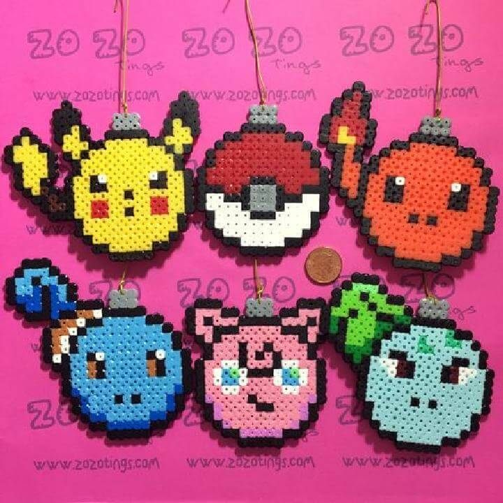 DIY Perler Bead Pokemon Ornaments