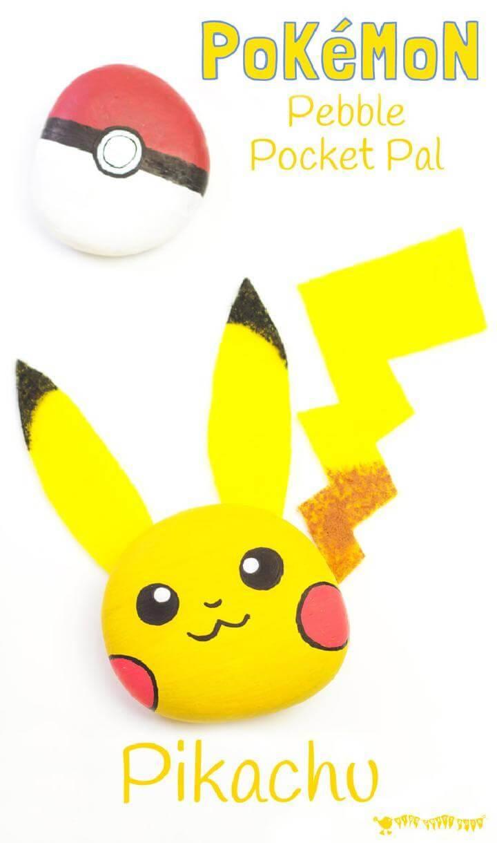 DIY Pikachu Pebble Pokemon Craft