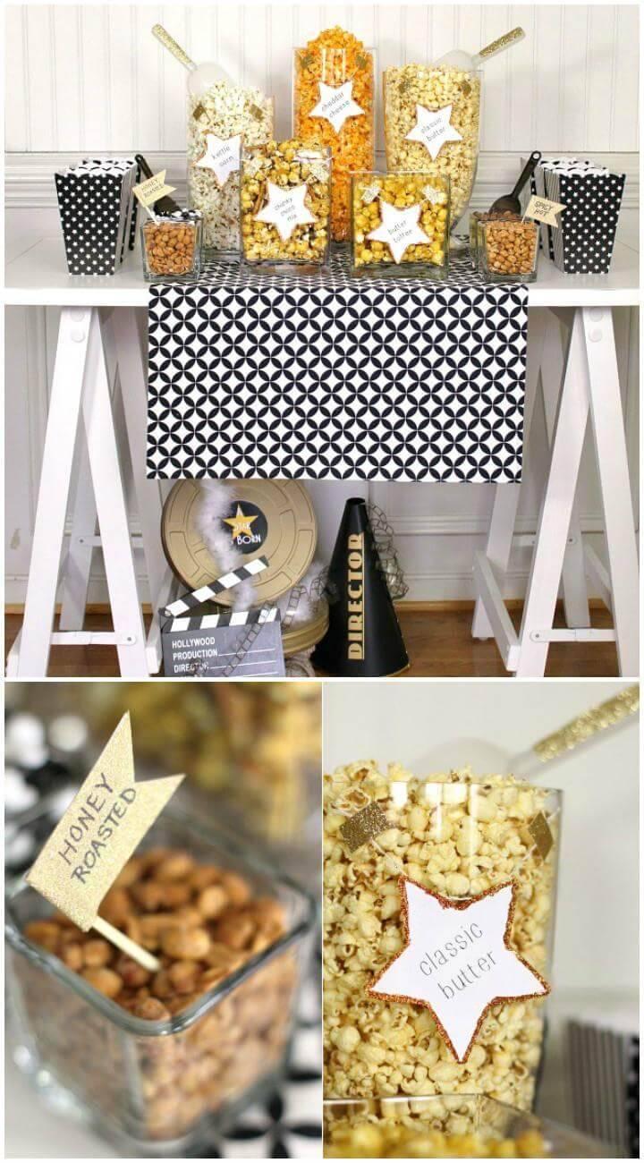 DIY Popcorn Bar for Graduation PartyDIY Popcorn Bar for Graduation Party