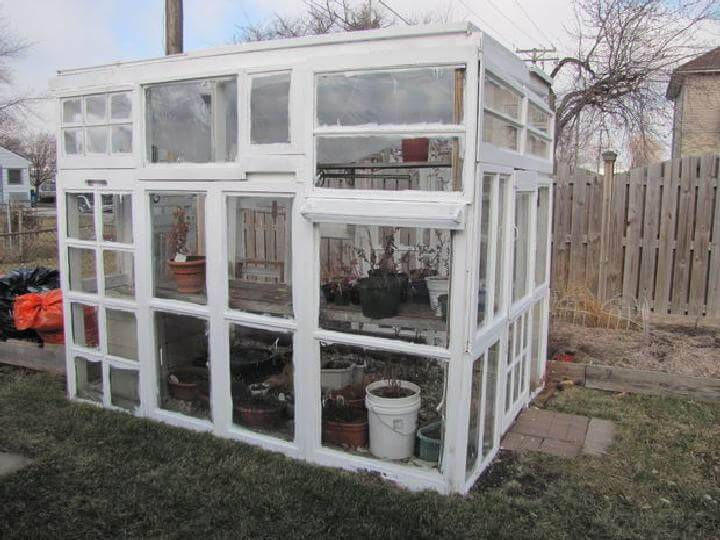 DIY Recycled Old Window Greenhouse