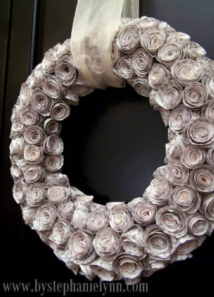 DIY Rolled Newspaper Faux Rosewood Wreath