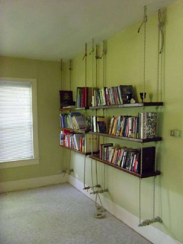 DIY Rope Hanging Bookshelves