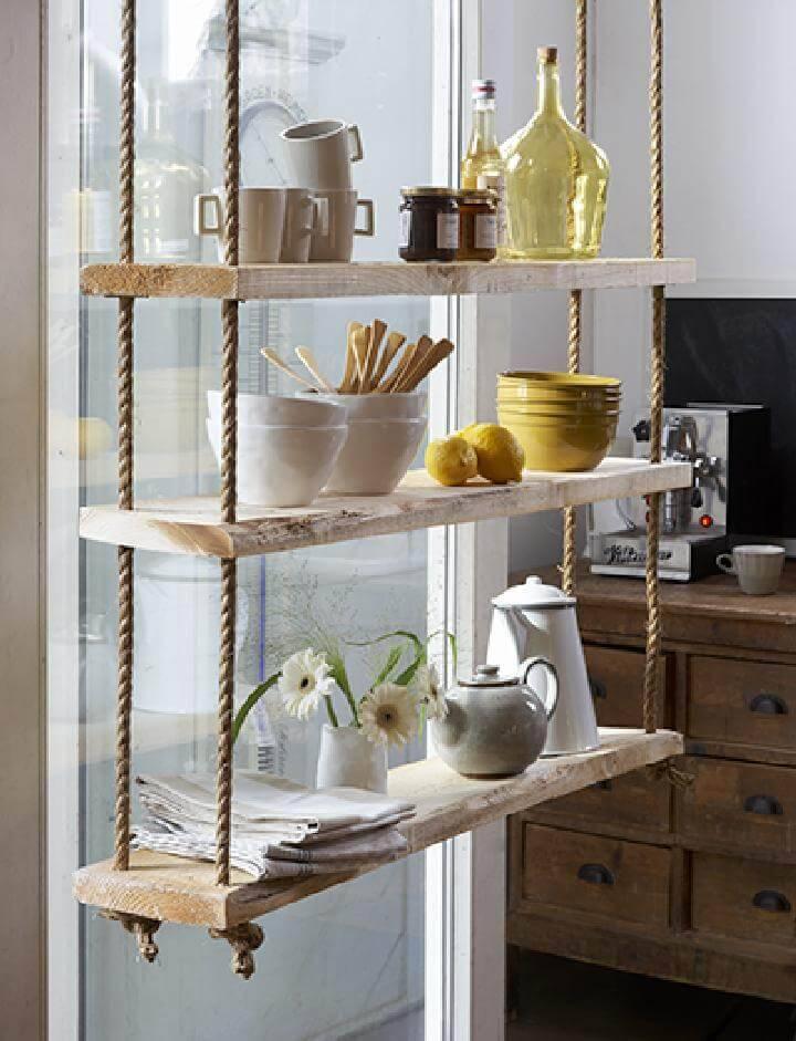 DIY Rope Kitchen Hanging Shelves