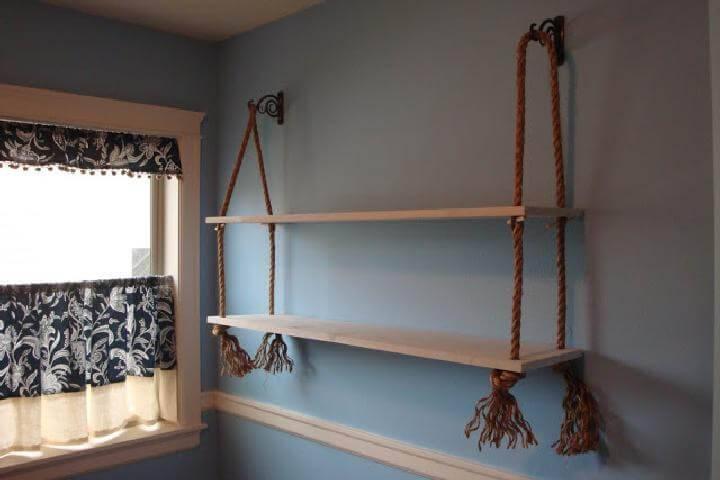 DIY Wood and Rope Shelves