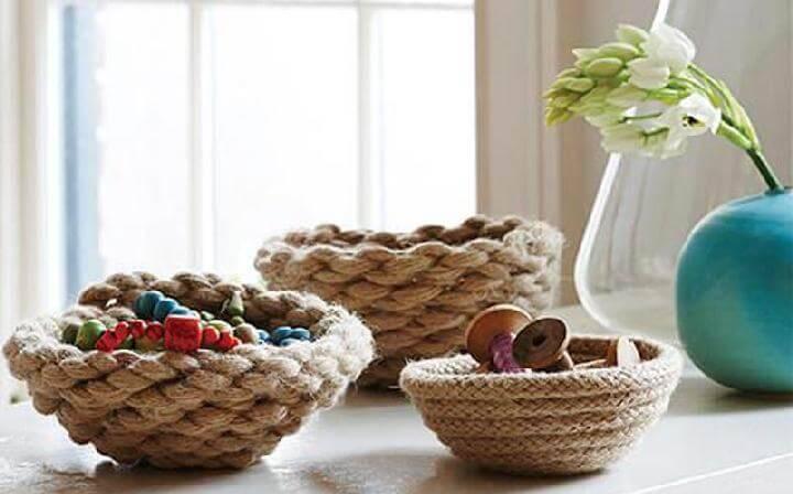 DIY Rope Storage Bowls