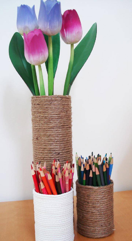 DIY Rope Vase and Pencil Holders