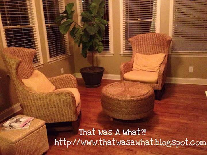DIY Rope and Old Tire Ottoman with Short Wooden Legs