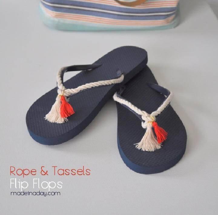 DIY Rope and Tassel Flip Flops
