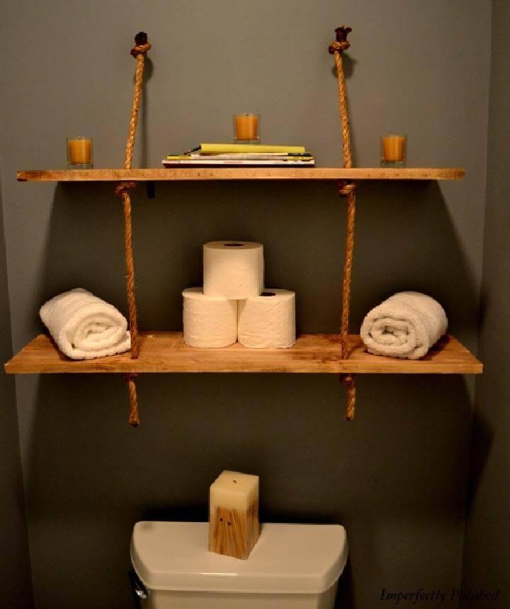 DIY Rope and Wood Bathroom Shelves