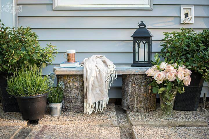 DIY Rustic Log and Reclaimed Wood Garden Bench