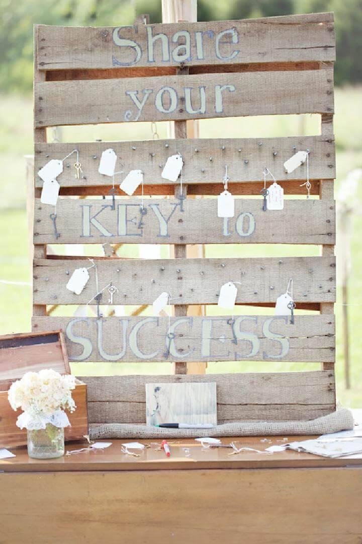 DIY Rustic Pallet Backyard Graduation Party Guest Book