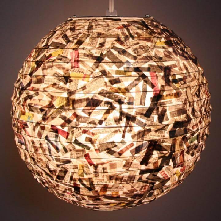 DIY Shredded Newspaper Lantern