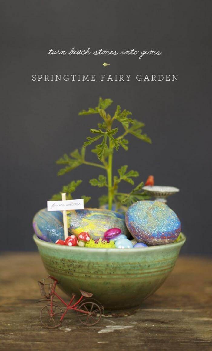DIY Sparkly Beach Stone Fairy House