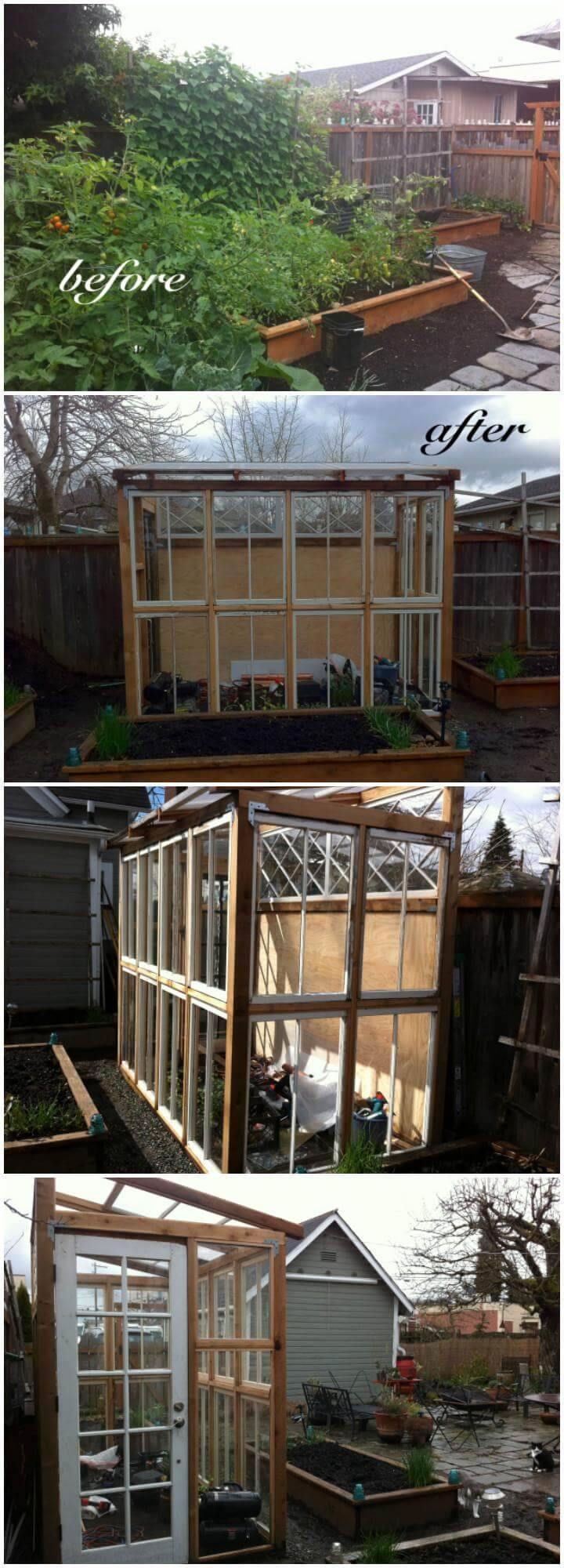DIY Super Low-Cost Greenhouse Made from Old Windows and Doors
