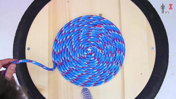 coiling the wood around the center in spiral manner step 2
