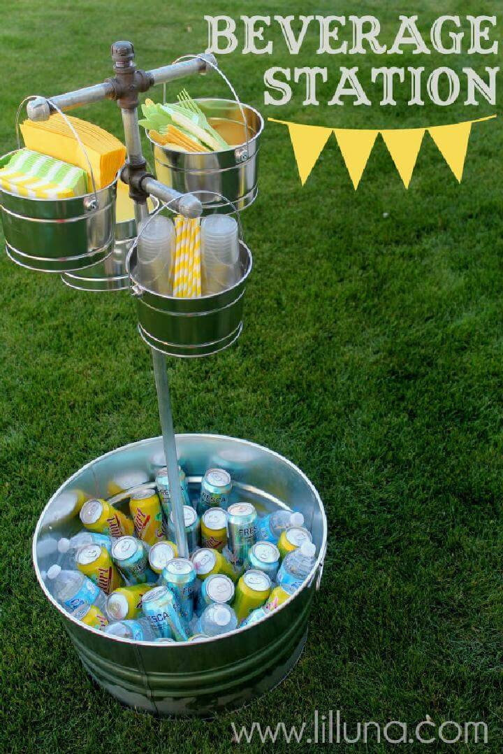 DIY Tub and Galvanized Metal Pipe Graduation Party Beverage StationDIY Tub and Galvanized Metal Pipe Graduation Party Beverage Station