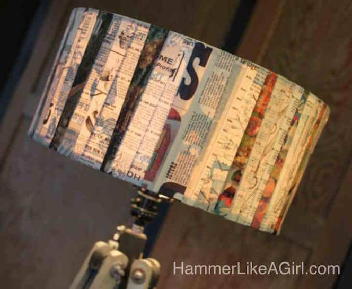 DIY Vintage Newspaper Decoupage Lampshade