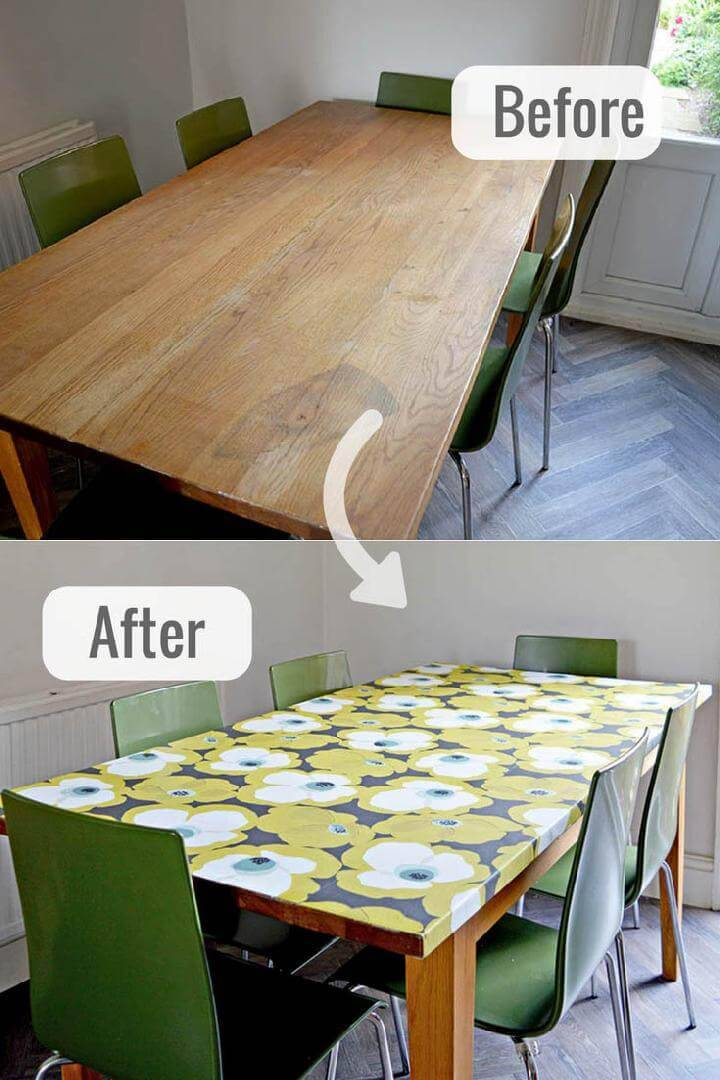 DIY Wallpaper Decoupage Table Top