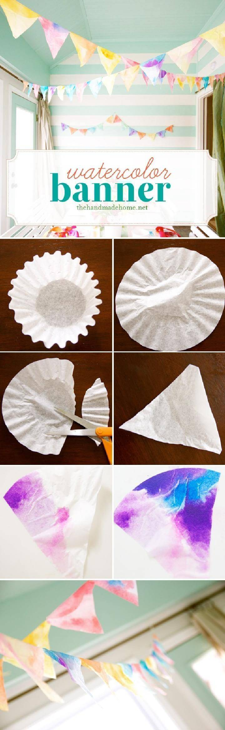 DIY Watercolored Coffee Filter Banner