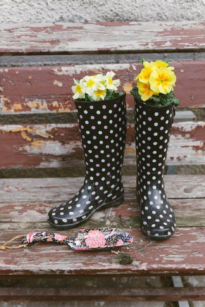 Repurposed Wellies Flower Planters