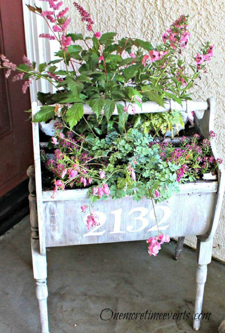 DIY Whitewashed and Stenciled Sewing Cabinet Planter
