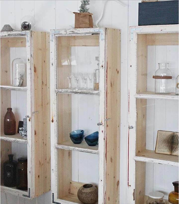 Repurposed Window Cabinet Shelves