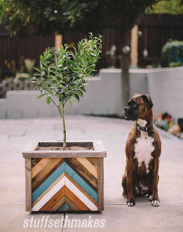 DIY Wooden Chevron Hand-Built Planter