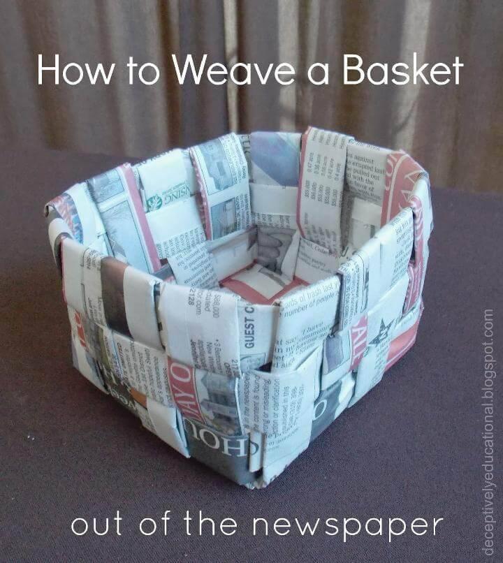 DIY Woven Newpaper Basket