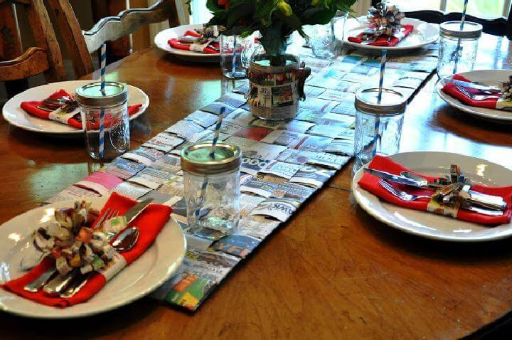 DIY Woven Newspaper Table Runner
